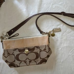 Coach Brown Canvas & Leather Logo Small Purse